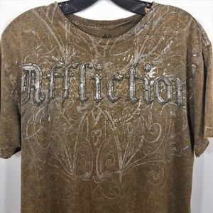 Affliction Tee T-Shirt Brown Mens Med Wings Fleur